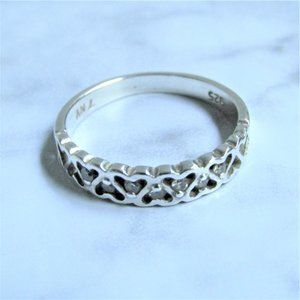 Sterling Silver Ring Openwork Heart Glass Crystals